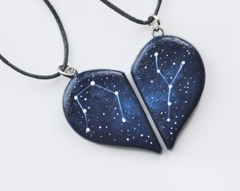 Half heart necklace Anniversary gift Two hearts necklace Boyfriend gift Girlfriend present Cosmic pendants Galaxy jewelry Personalized