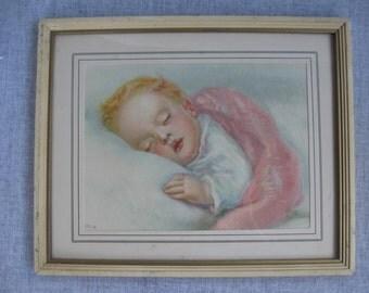Framed Art Print - Sleeping Baby - Charlotte Becker - 1940s Lithograph