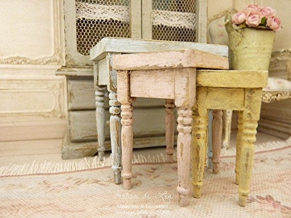Three nesting tables shabby chic campaign pale pink blue