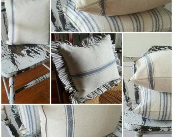 Grain Sack Pillow Cover w/Blue THREE Stripe - Zipper Closure