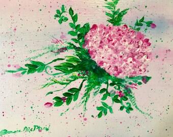 SHOP SALE! Original Acrylic Framed Painting Hydrangeas
