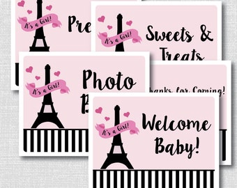 INSTANT DOWNLOAD - Printable Paris Baby Shower Party Signs - Paris Baby Shower - Set of 7 Party Signs