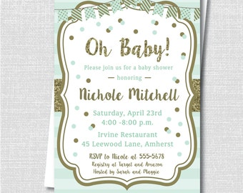 Mint and Gold Baby Shower Invite - Neutral Baby Shower - Mint and Gold Shower - Digital Design or Printed Invitations - FREE SHIPPING