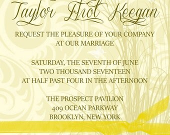 Swirl Print Wedding Invitation