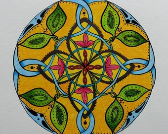 Digital Download Original Leaf Flower Celtic Knot Mandala Hippie Painting Australian Art