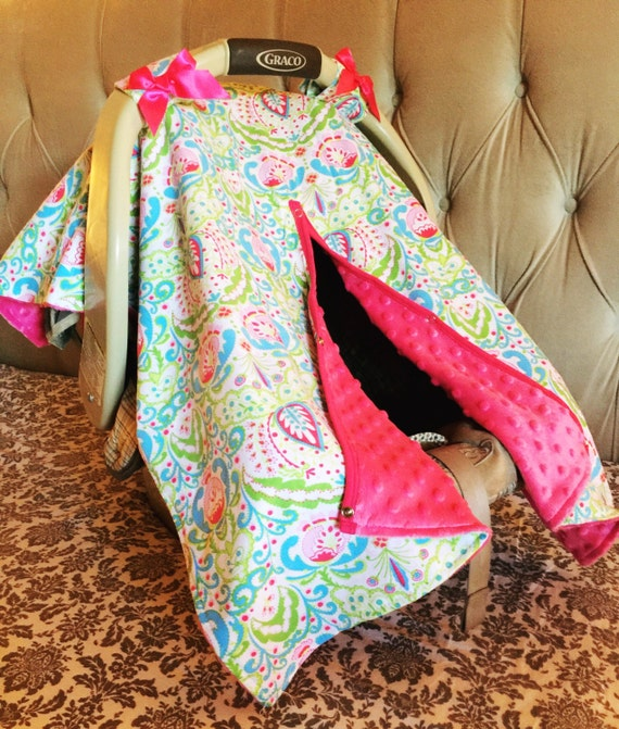 pretty paisley boho baby car seat canopy pink by infantileshop. Black Bedroom Furniture Sets. Home Design Ideas