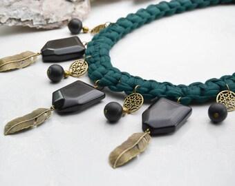Imposing necklace - Necklace macramé - Stone Necklace - Statement Necklace - Onyx Necklace - necklace boho - Short Necklace - Bib necklace