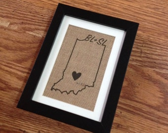 Indiana Map - Burlap in 5in x 7in Frame with Mat, Wedding or Anniversary Gift. Custom Couple's Initials, City and State