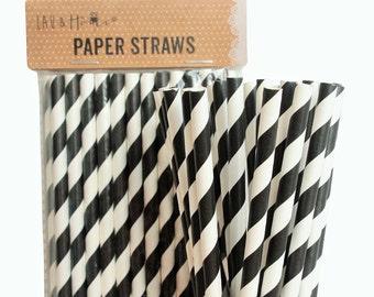 Black Stripe Retro Drinking Paper Straws for Birthday / Party / Wedding