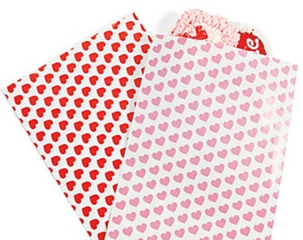 10 valentines heart Treat Bags - Mix and Match Colors Red or Pink