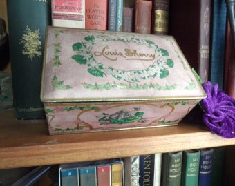 Lavender Louis Sherry lined tin container  / shabby vintage storage / violets  Canco