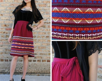 Boho Brightly Embroidered Wrap Skirt