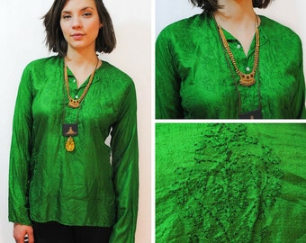 Emerald Green Embroidered Boho Tunic