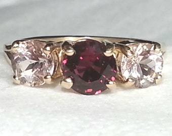 1.85ct Rubellite Tourmaline & Morganite 14kt Yellow Gold Ring Size 6.5