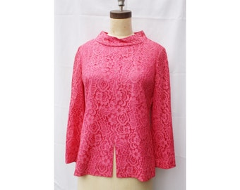 1960s Hot Pink Lace Blouse