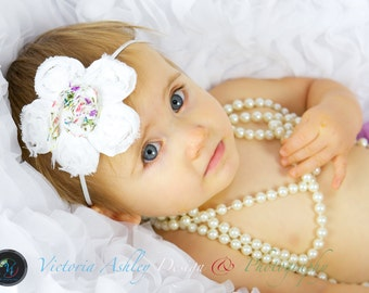 Baby Headbands, Flower Headbands, Chiffon Headbands, Newborn Headbands, Baby Girl Headbands, White headbands, Infant Headbands, Headbands