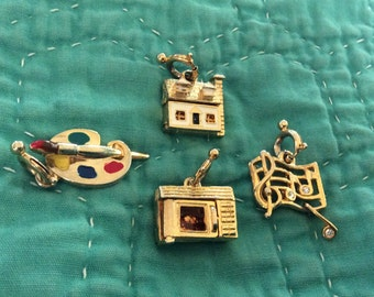 Vintage, Signed Gold Tone Charms w/Moving Mechanical Parts; Set of 4; Mint Condition
