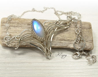 Blue flash Moonstone 935 Silver Necklace, 925 Silver Necklace,Elf's pendant