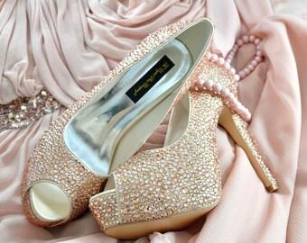 Custom Swarovski Champagne Nude Silk Peach crystal encrusted embellished wedding Bridal peeptoe high heel Platform court pump shoes