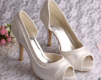 Custom handmade ivory Lace Bridal wedding satin Peeptoe dorsay platform high heels - 14 colours!