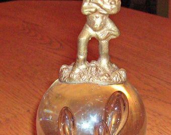 Vintage Glass Ball Paperweight with Brass Angel