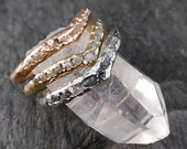 CUSTOM Raw Rough Uncut Diamond Contour Curved Wedding Band 14k / 18k Gold Wedding Ring byAngeline