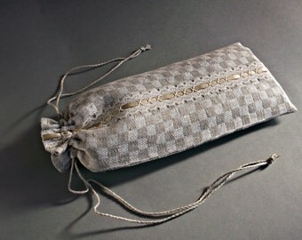 Checkered natural linen drawstring pouch Long gift wrap bag with lace 30 x 12 cm