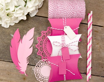 Pink Pillow Box with matching Tag and Twine - set of 20 - CHOOSE YOUR SHADE