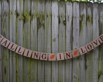Bridal shower banner Fall in love - Engagement Party Decoration - Photo Prop
