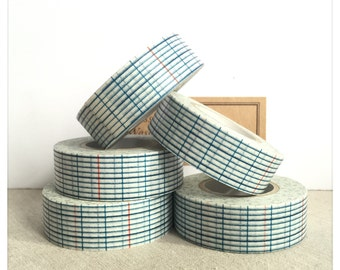 PRE ORDER: (AUG delivery) Blue Grid Washi Tape - Classiky - Various Widths