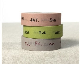 PRE ORDER: (Aug Delivery or earlier) Days of the Week Washi Tape Set 3pk - Classiky