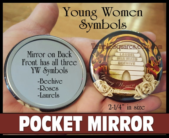 YW Young Women Symbols Pocket Mirror - Beehive, Mia Maid, Laurel Symbols. Nice Advancement Gift for Incoming Beehives. Mutual 2016 Jewelry