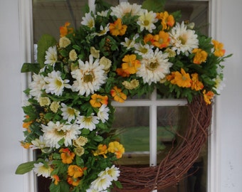 CLEARANCE Yellow and Orange Summer Wreath