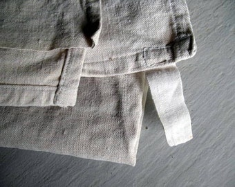 Pair of hemp antique French tea towel torchons with hanging loops, hand woven