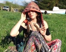 Reversible Unisex Tribal Festival Burning Man Hood, Which Came First, The Phoenix Or The Flame.