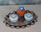 Mini blue-heart cupcakes tray