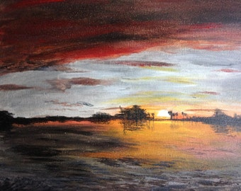 Sunrise on a Lake - Original Fine Art Painting