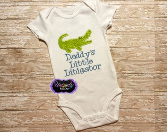 Boys Shirts - Alligator Shirt - Lawyer Baby - Gifts for a Lawyer - Girls Shirts - Daddy's Little Litigator Shirt - Custom Shirt
