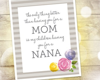 """Mother's Day Gift — Printable Gift for Mom / Grandmother / Nana — The Only Thing Better than Having You for a Mom — 8""""x10""""— INSTANT DOWNLOAD"""