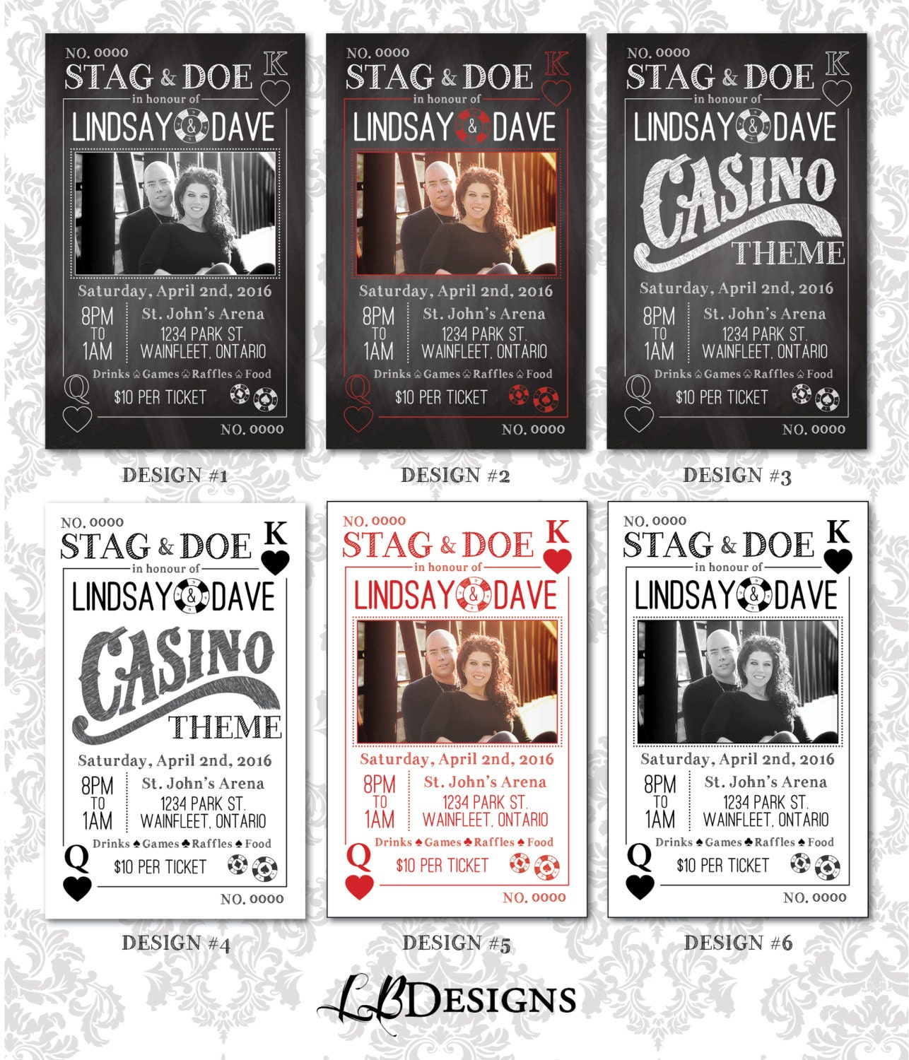 Stag And Doe Tickets Playing Cards/Casino Theme
