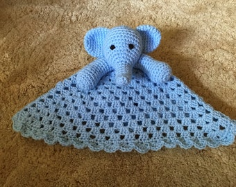 Crocheted Elephant Baby Blue Lovey