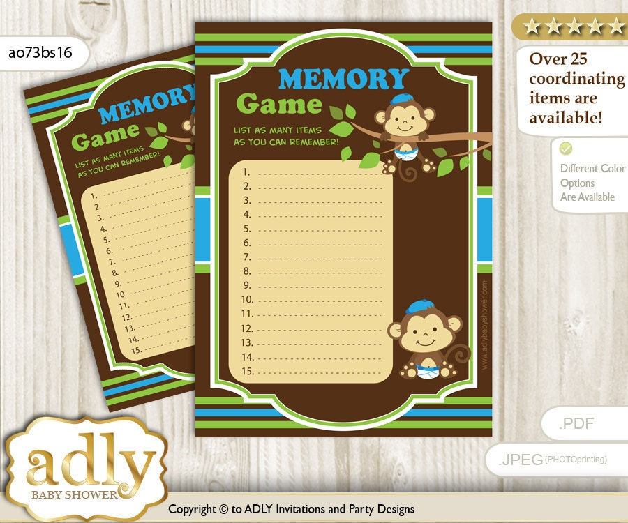 twins monkey memory game for baby shower printable card for