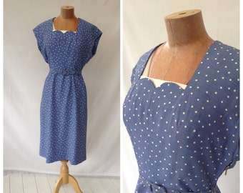 1950s Polka Dot Wiggle Dress, Sky Blue & White, Summer, Day Dress,UK size 8, US size 6.