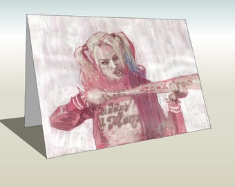 Harley Quinn from Suicide Squad greetings card (A6 - 105 x 148mm)