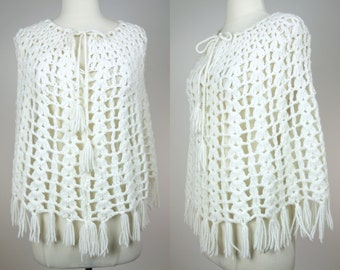 Vintage white shawl, hand knit acrylic with tassels and front neck tie