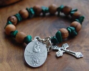 First Communion Gift.Baptism Gift.Catholic Rosary Bracelet.Baptismal Gift.Jerusalem Olive Wood.Catholic Chaplet.Catholic Medal. Godson Gift