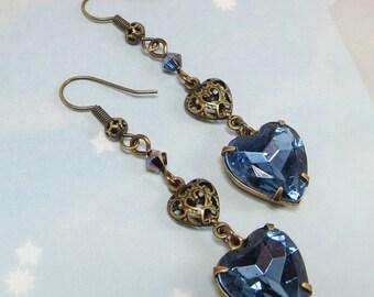 Blue Heart Earrings Rhinestone Sapphire Blue Heart Ear Dangles Victorian Downton Abbey
