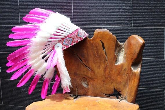 FLUOR COLLECTION: Pink Indian Warbonnet .Native American Style Feather Headdress