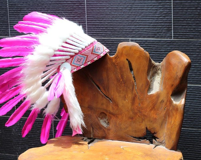 X32 FLUOR COLLECTION: Pink Warbonnet .Native American Style Feather Headdress
