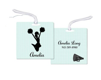 Cheerleader Bag Tag,  Bag Tag, Personalized Cheer Bag Tag, Personalized Cheerleader Bag Tag,  Bag Tag,  Cheerleader Tag, RyElle, Cheerleader